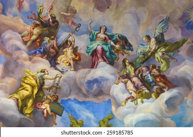 WIEN, AUSTRIA, JANUARY 4, 2015: detail of beautiful colorful paintings on the ceiling of the famous church in wien - karlskirche.