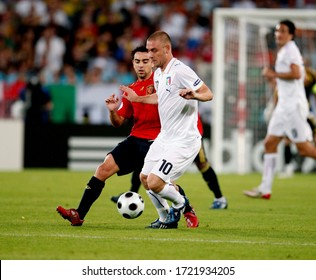 Wien, AUSTRIA - June 22, 2008:  Daniele De Rossi and Xavi in action  during the UEFA Euro 2008  Spain v Italy at Ernst Happel Stadion.