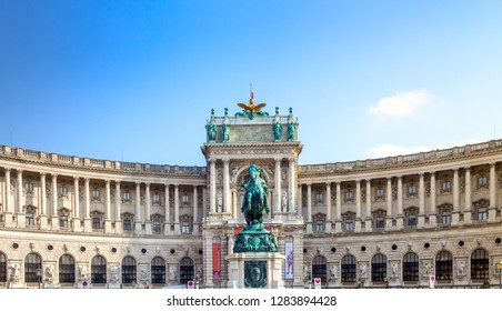 Wien / Austria -  October 10 2014: the statue of Prince Eugene against  Neue burg,  the new part of the Hofburg palace in historical part pf Vienna