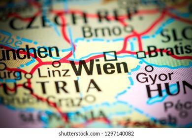 Wien, Austria on a map