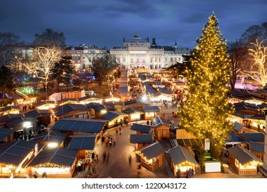 Wien Christmas Market advent viewed from above