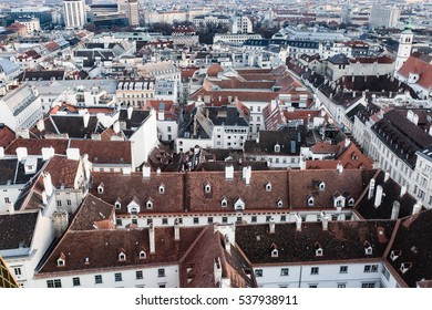 Wien city skyline aerial view