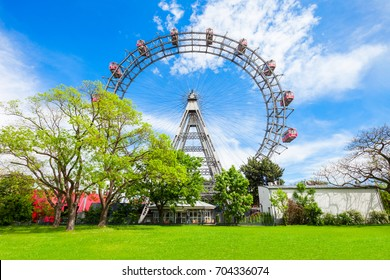 The Wiener Riesenrad or Vienna Giant Wheel 65m tall Ferris wheel in Prater park in Austria, Vienna. Wiener Riesenrad Prater is 