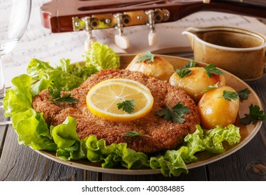 Wiener schnitzel with potatoes and salad, selective focus.