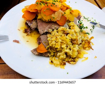 Wiener Tafelspitz - Viennese boiled beef with rösti, apple horseradish and chive sauce