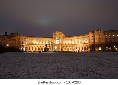 Wienna National library at night, in winter