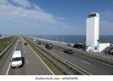 WIERINGEN, NETHERLANDS - MAY 11, 2017: Afsluitdijk, the observation tower as seen from pedestrian bridge