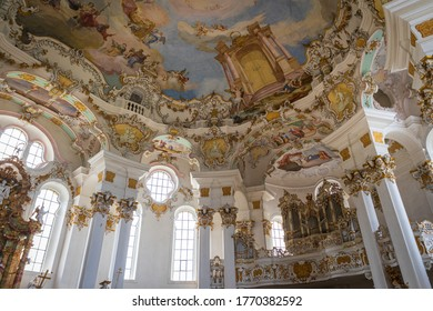 WIES, GERMANY - NOVEMBER, 2019: Amazing white interior and organ in Wieskirche church, Bavaria