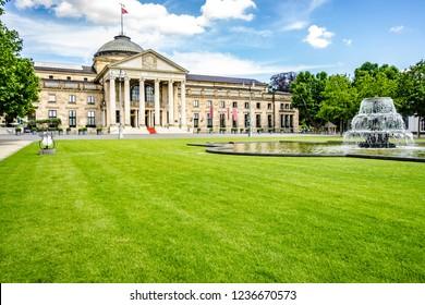 Wiesbaden, Germany - 2018-06-03: Casino Kurhaus of Wiesbaden