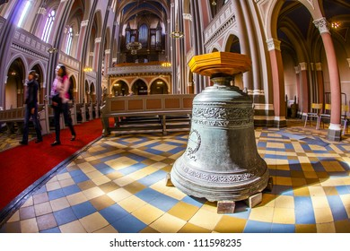 WIESBADEN, GERMANY - APRIL 10: inside the Marktkirche on April 10,2011 in Wiesbaden, Germany. The  Carillon of the church with 49 bells of bronze has a total weight of 11 tons.