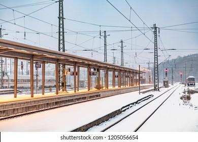 WIESBADEN, GERMANY - DEC 20, 2009: snowfall at the train station in Wiesbaden, Germany.