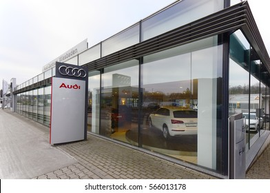 WIESBADEN, GERMANY- JAN 26: AUDI car showroom and logo on January 26, 2017 in Wiesbaden, Germany.