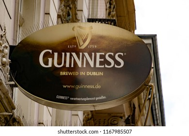 Wiesbaden, Germany - June 03 2018: GUINNESS logo on a facade. GUINESS is a famous irish beer, brewed in Dublin.