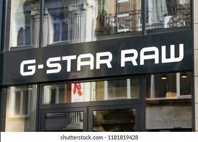 Wiesbaden, Germany - June 03 2018: G STAR RAW logo on a facade in Wiesbaden on a store.