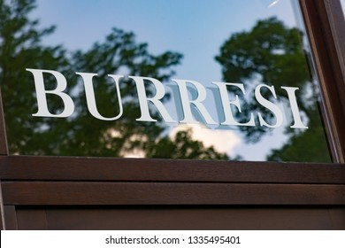 Wiesbaden, Germany - June 03 2018: BURRESI  logo on a facade. BURRESI  is a German fashion and accessoire store chain.