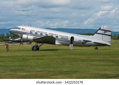 WIESBADEN / GERMANY - JUNE 2019 Historic Flight Foundation Douglas DC-3C, N844MG, cn 4193 wearing prewar PanAm cs taking part in the celebrations for 70 years Berlin airlift.  Built for USAF in 1949.