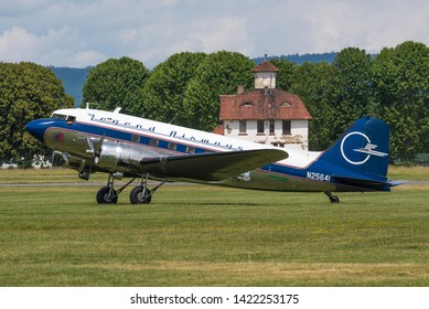 WIESBADEN / GERMANY - JUNE 2019 Legend Airways of Colorado Douglas DC-3C-S4C4G, N25641, cn 9059 taking part in the celebrations for 70 years Berlin airlift. Built as Douglas C-47-DL for the USAF 1943.