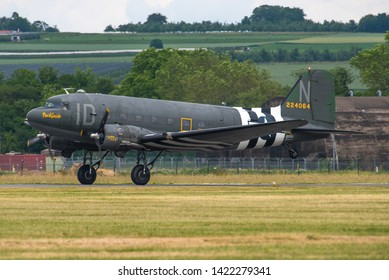 WIESBADEN / GERMANY - JUNE 2019 Tunison Foundation Douglas C-47A-DL, N74589, cn 9926 participating in the 70 years Berlin airlift celebs. Wearing D-Day marks ID N 42-24064 named Placid Lassie,