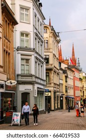 WIESBADEN, GERMANY - MAY 24: Pedestrian street Marktstrasse in historic town center on May 24, 2017 in Wiesbaden, Hesse, Germany. Wiesbaden is one of the oldest spa towns in Europe.