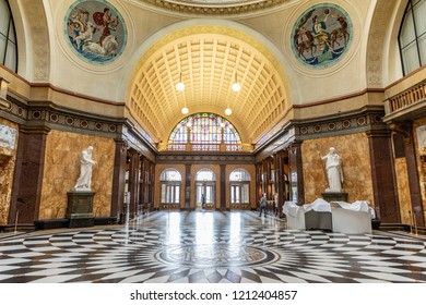 WIESBADEN, GERMANY - OCT 18, 2018: inside the old Kurhaus in Wiesbaden.The    Casino contained dinning restaurant which is the social center of the spa town with many events throughout the year.