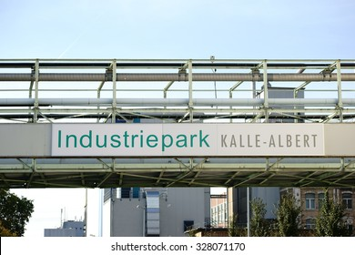 WIESBADEN, GERMANY - OCTOBER 02: The entrance sign of the industrial park Kalle-Albert of the Hoechst AG on October 02, 2015 in Wiesbaden / Industrial Park Kalle-Albert