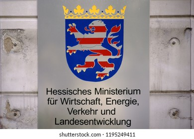 WIESBADEN, GERMANY - SEPTEMBER 25: The shield and coat of arms of the Hessian Ministry of Economic Affairs, Transport and Regional Development on September 25, 2018 in Wiesbaden.