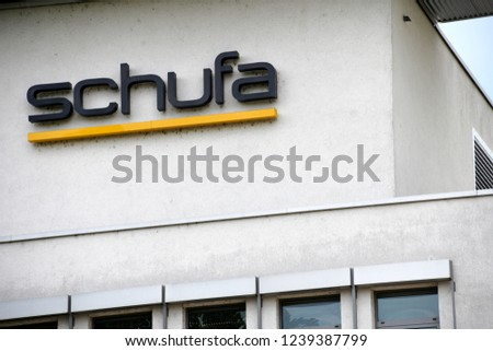 Wiesbaden, Hesse / Germany - May 15, 2018:  Schufa Holding AG headquarters in Wiesbaden, Germany - Schufa is a German private credit bureau supported by creditors