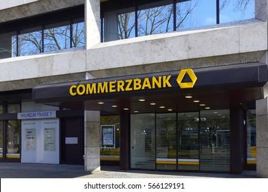 WIESBADEN,GERMANY-JAN 26:entrance to the COMMERZBANK on January 26,2017 in Wiesbaden,Germany.