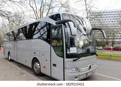 Wiesbaden,Germany-January 26,2017:travel bus on the street.
