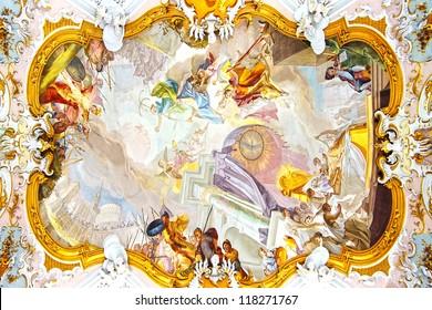 WIESKIRCHE,GERMANY-JUNE 8:Fresco in Pilgrimage Church Wieskirche. Church is rococo church,designed in 1740s by Dominikus Zimmermann.UNESCO World Heritage List in 1983;June 8,2012 Wieskirche,Germany