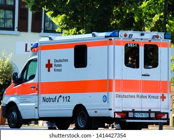 Wiesloch, Germany- 1 June 2019: DEUTSCHES ROTES KREUZ, the German Red Cross is the National Society of the International Red Cross and Red Crescent Movement in Germany. It the German ambulance.