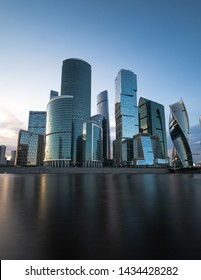 wiev on the moskow financial district at sunset
