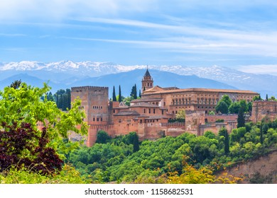 Wiew of the Alhambra from Albaicyn, Granada, Andalucia, Spain