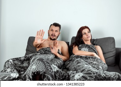 The wife catches her husband with his mistress in bed, adultery. The concept of divorce, betrayal, lover, sexual desire, betrayal.