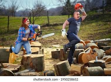 Wife chasing her husband with chainsaw, fooling around