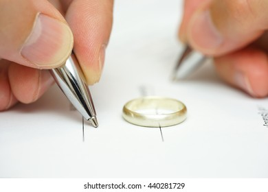 wife and husband are signing divorce papers