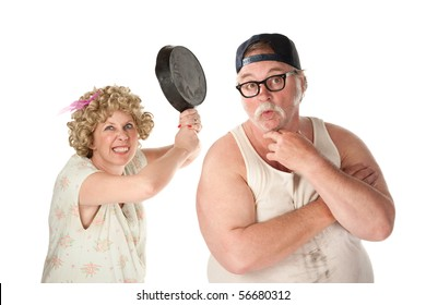 Wife readies a pan to her clueless husband's head