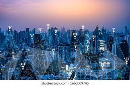 Wifi and 5G digital network Concept.Smart city and communication network,LPWA (Low Power Wide Area),Wireless communication,Big data,iot(internet of thing) on Bangkok city Thailand background.