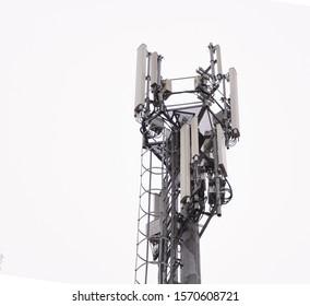 Wifi antenna on white sky close up