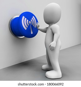 Wi-fi Button Meaning Internet Connection Or Mobile Data