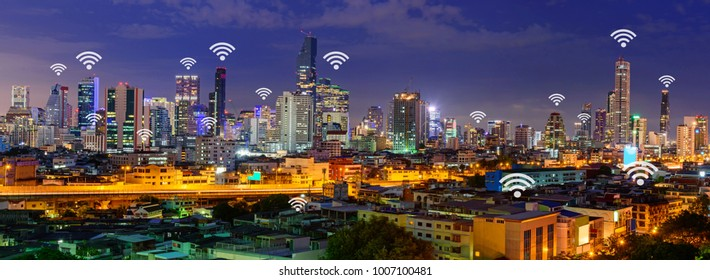 wifi in city / wifi sign and high building in the city