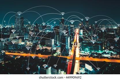 Wifi-Ikone und Stadtbild- und Netzwerkanbindung, intelligentes Stadt- und drahtloses Kommunikationsnetzwerk, abstraktes Bildbild, Internet der Dinge