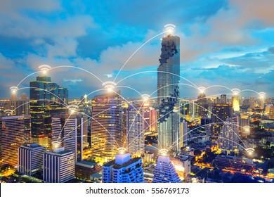 Wifi icon and city scape and network connection concept, Smart city and wireless communication network, abstract image visual, internet of things