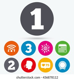 Wifi, like counter and calendar icons. First, second and third place icons. Award medal sign symbol. Human talk, go to web.