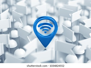 Wi-Fi Location. 3D rendering graphic composition on the subject of 'Wireless Technologies'.