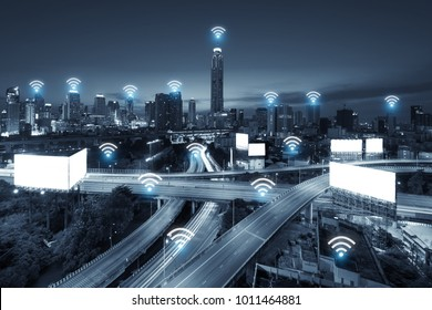 Wifi network business conection system on Bangkok city in background. Wifi technology and conection concept
