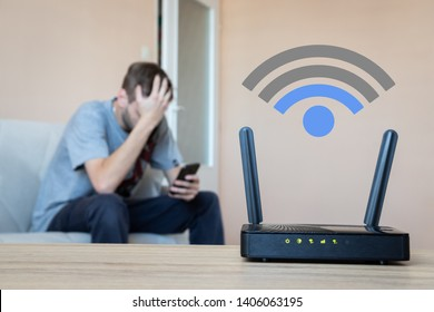 Wifi router with low signal. Bad connection. Version 2 - WiFi icon