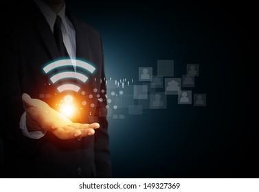 Wifi symbol on mail hand