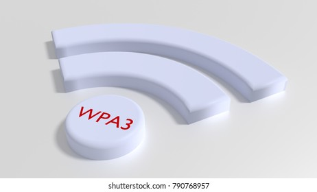 Wifi symbol in white with the text WPA3 in red on the dot cybersecurity concept 3D illustration