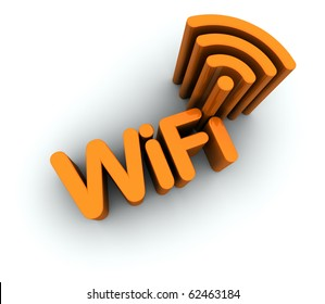 WiFi Text with Antenna Icon